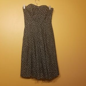 WHBM | Strapless Black Polka Dot Dress (Size 4)
